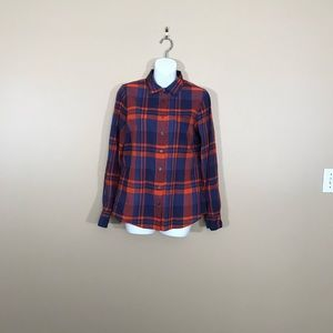 J. Crew Blue and Orange Button Up Top